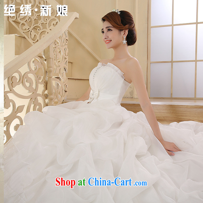 There is embroidery bridal 2015 new erase chest Korean marriage video thin with stylish and tied with the tail wedding white tailored is not final, is by no means a bride, and shopping on the Internet