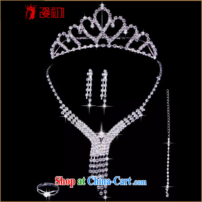 Early definition 2015 bridal jewelry 3 piece set Korean-style necklace earrings crown and ornaments wedding jewelry wedding wedding accessories