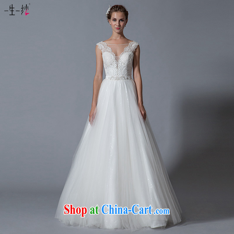 A yarn-back pearl diamond shoulders V collar wedding Princess graphics thin sexy shaggy dress wedding dresses custom 2015 summer 40151125 white XXL code 30 days pre-sale