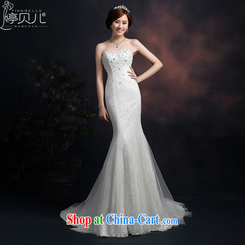 Ting Beverly wedding dresses 2015 new spring and summer Korean stylish wedding-tail end crowsfoot Mary Magdalene Beauty Chest graphics thin tied with a large, white XXL