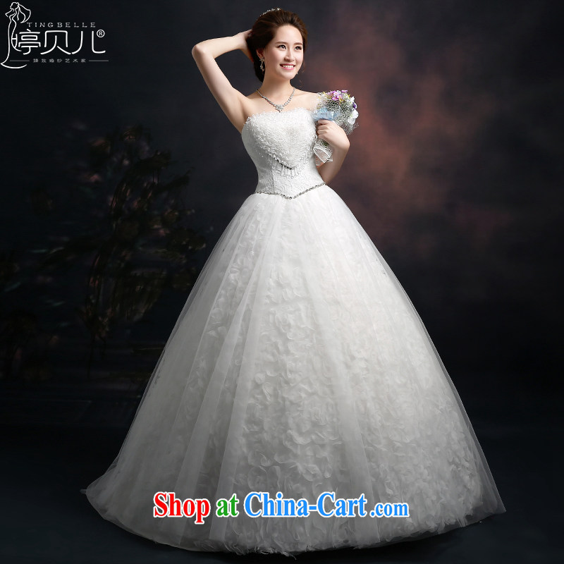 Ting Beverly wiped his chest wedding dresses 2015 new spring and summer new autumn graphics thin Korean trendy code lace wedding with cultivating a strap white XXL