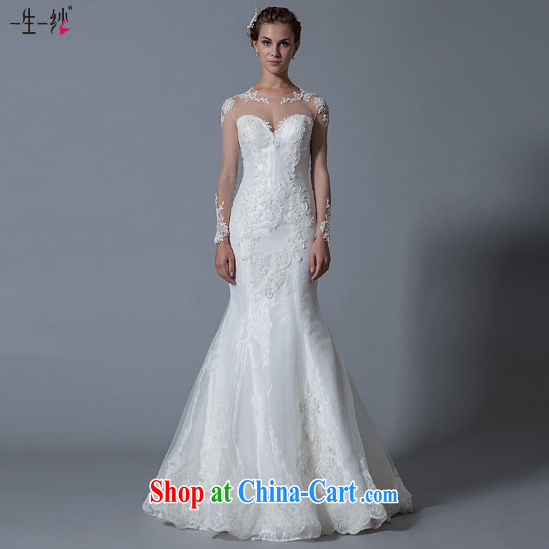 A lifetime by summer 2015 Openwork lace-back wedding long-sleeved round-collar crowsfoot wedding package shoulder graphics thin 40151128 white XXL code 30 days pre-sale