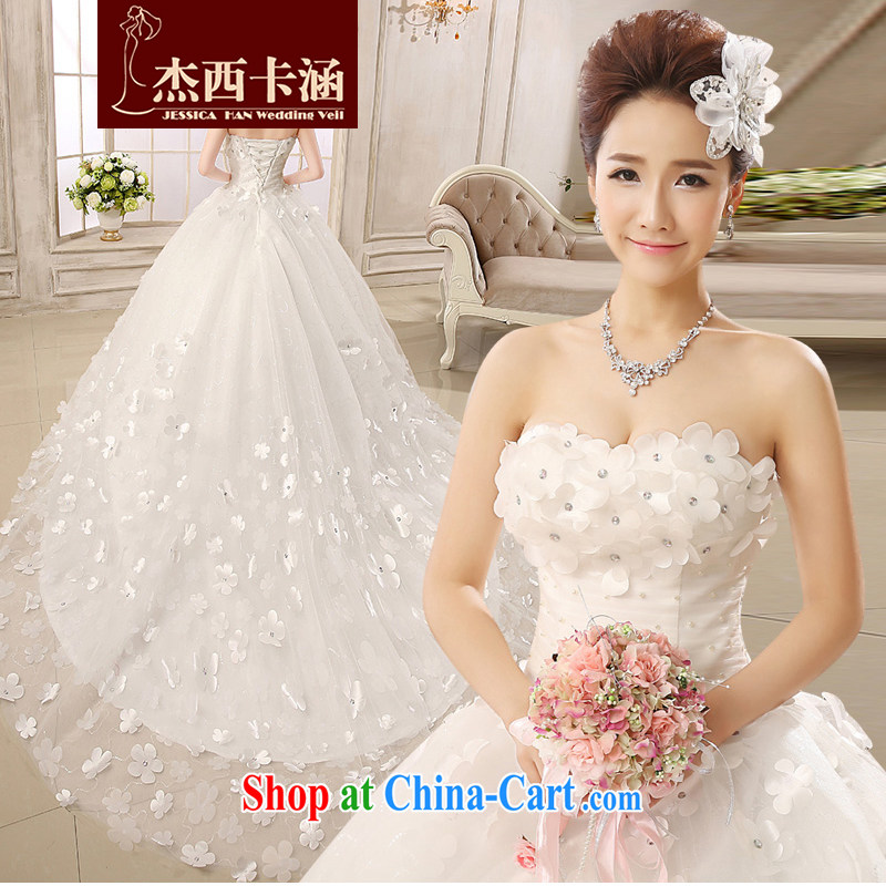 Jessica covers wedding dresses new 2014 erase chest tail Korean Beauty The waist graphics thin lace bridal marriage with Princess flowers 2143 tail white XXXL