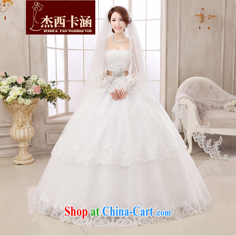 Jessica covers long-tail wedding dresses 2014 new marriages lace Korean fashion drill with bare his chest to cultivating video winter 2150 with white L