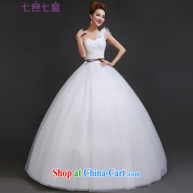 7 color 7 tone Korean version 2014 new stylish single shoulder feather beauty graphics thin with, Shaggy dress wedding dresses H 050 white tailored (final)