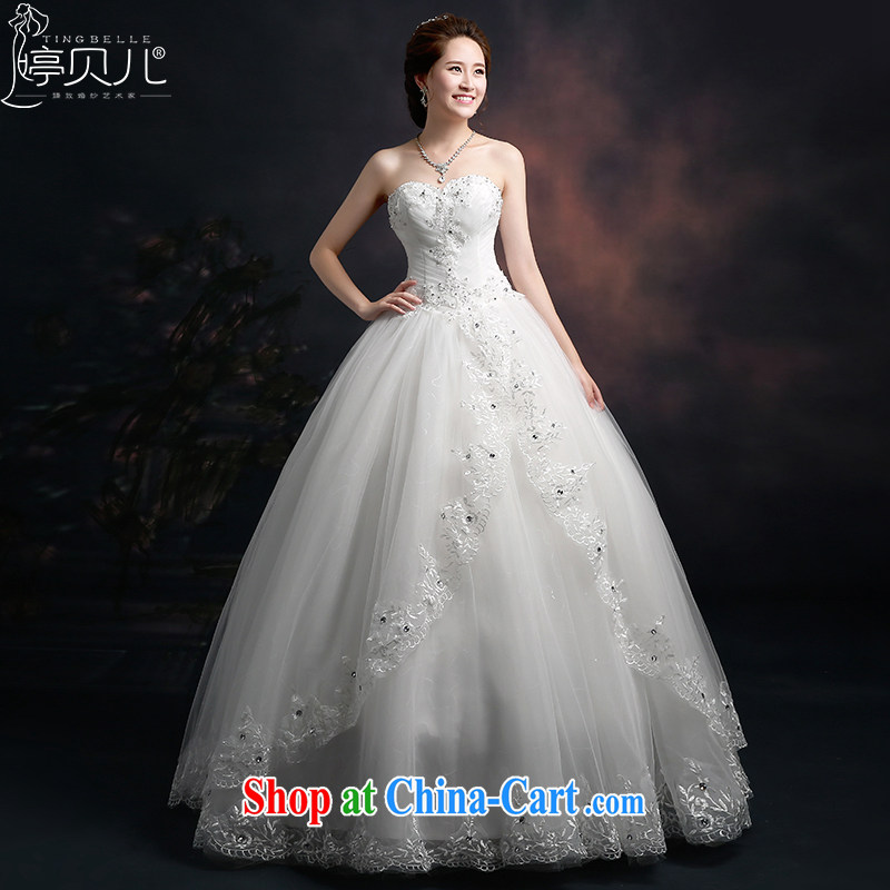 Ting Beverly 2015 new spring and summer wedding heart-shaped bare chest Korean fashion lace wedding dresses the waist graphics thin tie-bow-tie white XXL