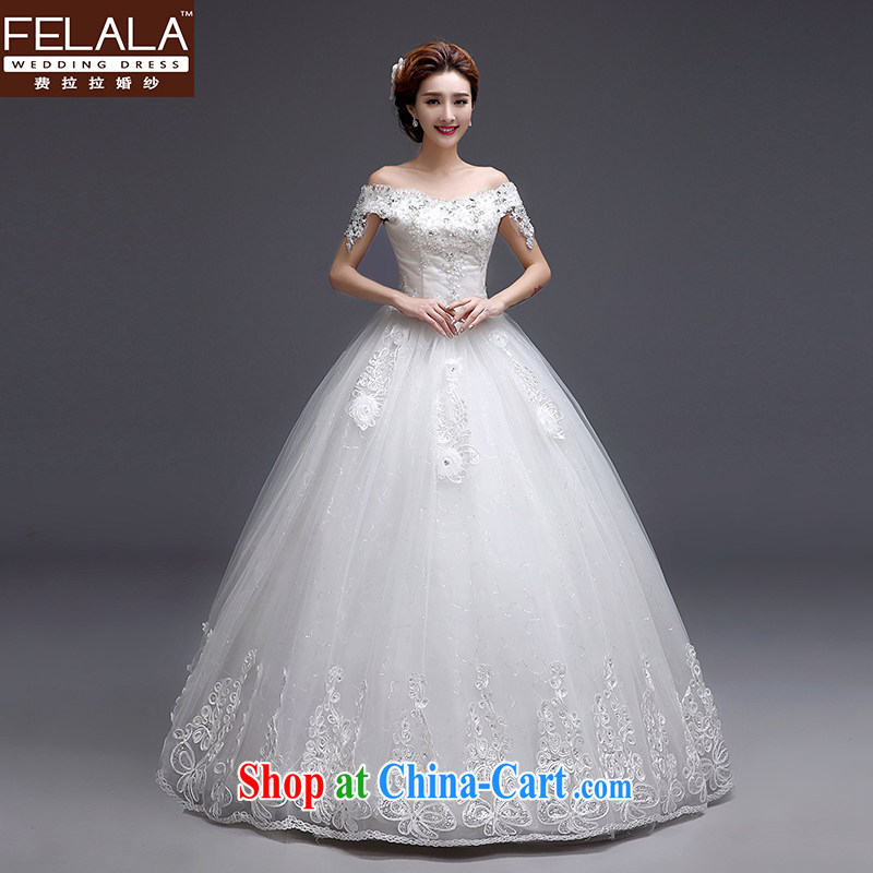 Ferrara 2015 new wedding Korean sweet field shoulder water drilling with shaggy dress wedding XL (2 feet 2)