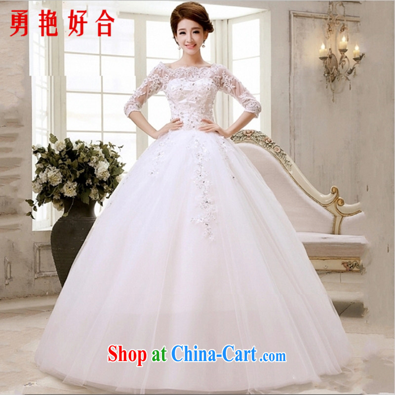 Yong-yan and wedding dresses new 2015 autumn and winter the code word for shoulder cuff in Korean Modern marriages with straps white S