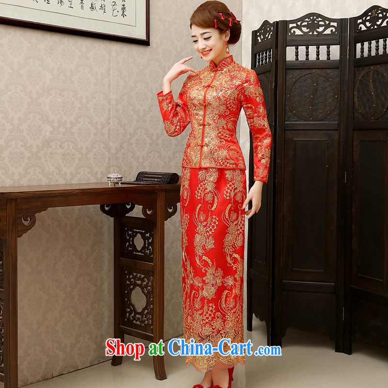 2014 new Chinese wedding dress show reel service long toast cotton clothing retro bridal dresses autumn and winter red autumn the cotton customer for this size will not be returned.