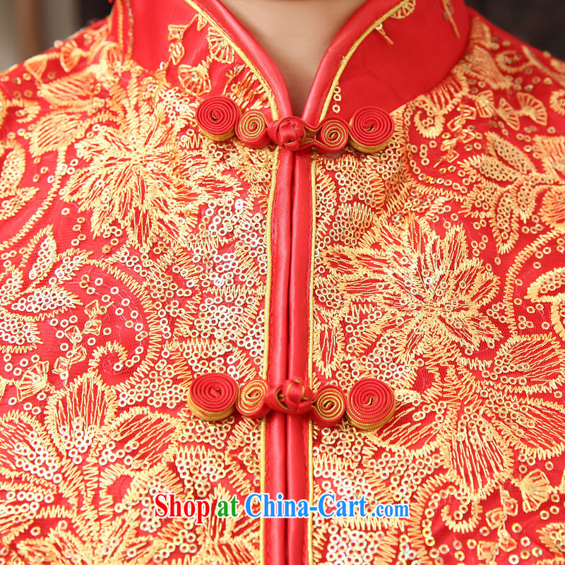 2014 new Chinese wedding dress show reel service long toast cotton clothing retro bridal dresses autumn and winter red autumn the cotton customer size will not be refunded, love so Pang, shopping on the Internet