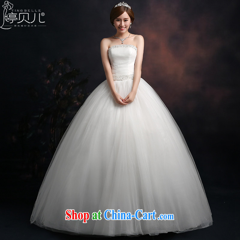 Ting Beverly wiped chest wedding 2015 Spring Summer autumn Korean Beauty graphics thin wedding dresses wood drill large code tie-in with white XXL