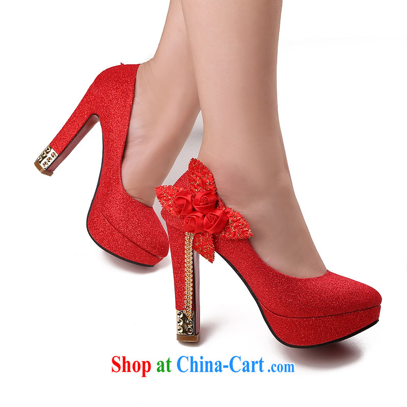 Lisa Donald Rumsfeld's autumn light port sweet flowers lift deck wedding shoes round-head fine heel shoes women shoes and high-heel shoes, shoe shine the national package mail red 39 12 cm high