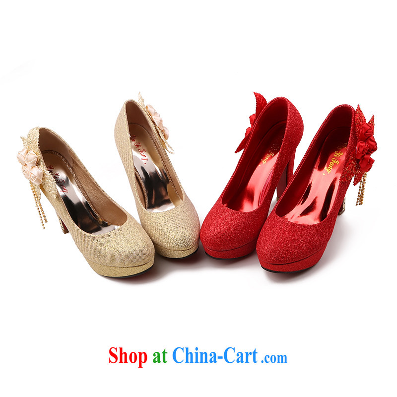 Lisa Donald Rumsfeld's autumn light port sweet flowers lift deck wedding shoes round-head fine heel women shoes high-heel shoes, shoe shine the national package mail red 39 12 cm high, so Pang, shopping on the Internet