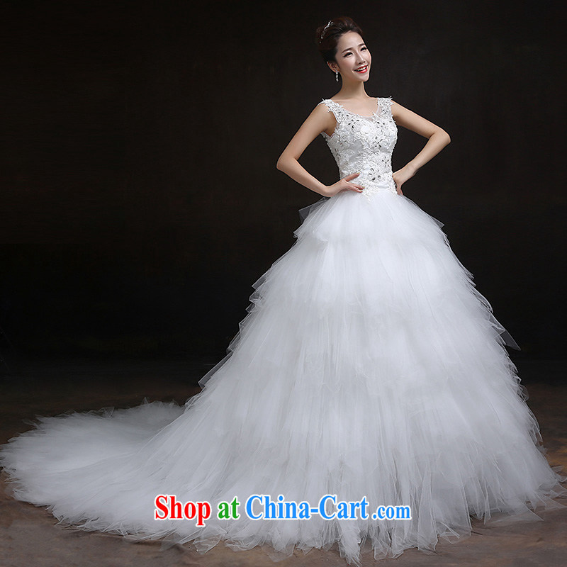 According to Lin Sa 2015 new marriages wedding dresses retro lace-up waist graphics thin the Field shoulder the tail wedding custom are code