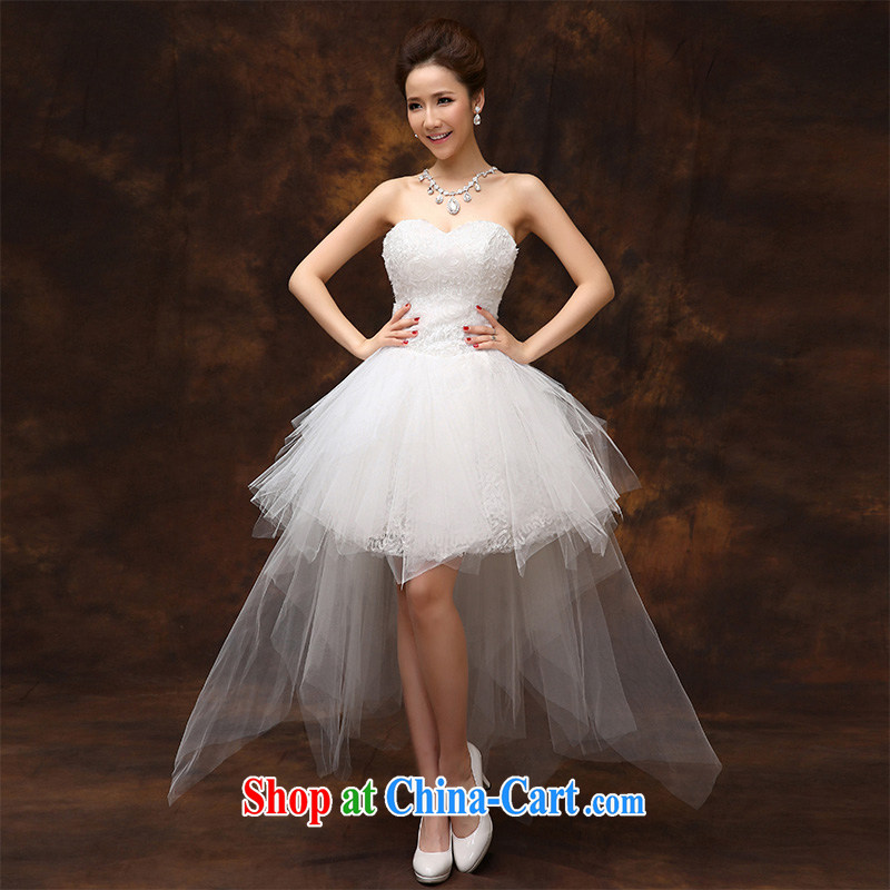 According to Lin Elizabeth short before long marriages wedding dresses small bridesmaid Korean sweet Princess tie wedding dresses S