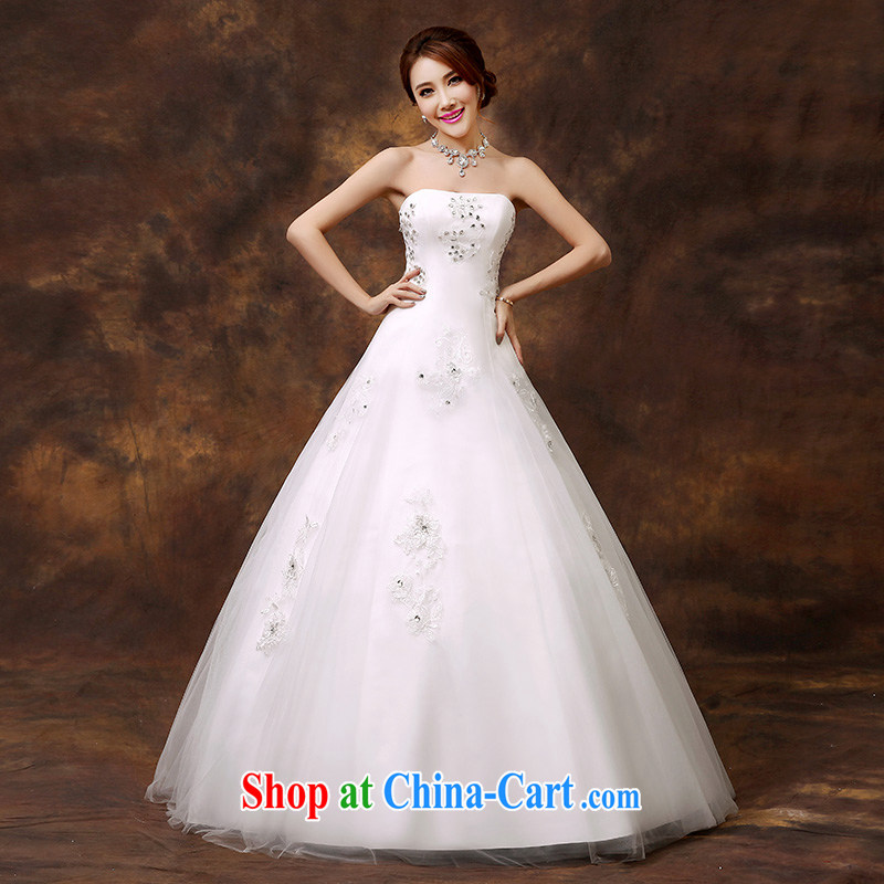 2014 new stylish erase chest wedding bridal dresses Korean-style minimalist A with shaggy dress with Pearl hunsha tailored contact Customer Service