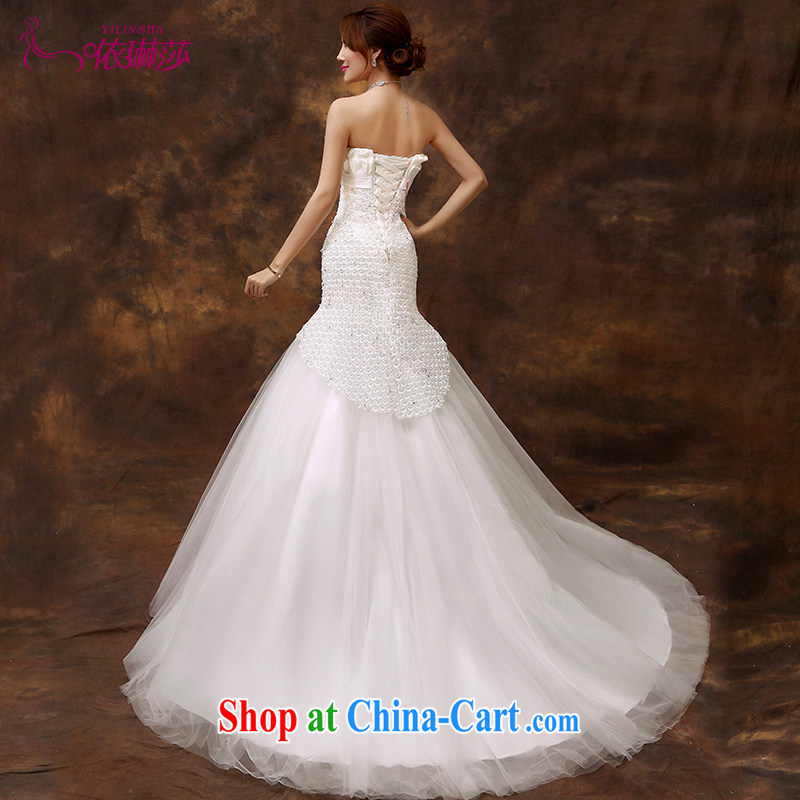2015 new stylish wedding dresses Korean minimalist single shoulder-waist crowsfoot graphics thin lace tail strap retro tailored contact Customer Service