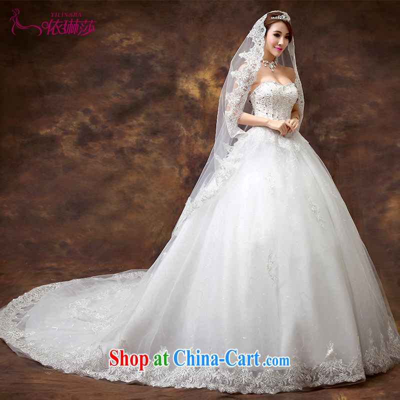 According to Lin Sa 2015 new wedding dresses stylish Mary Magdalene Beauty Chest marriages Korean retro lace long-tail wedding, tailored contact Customer Service