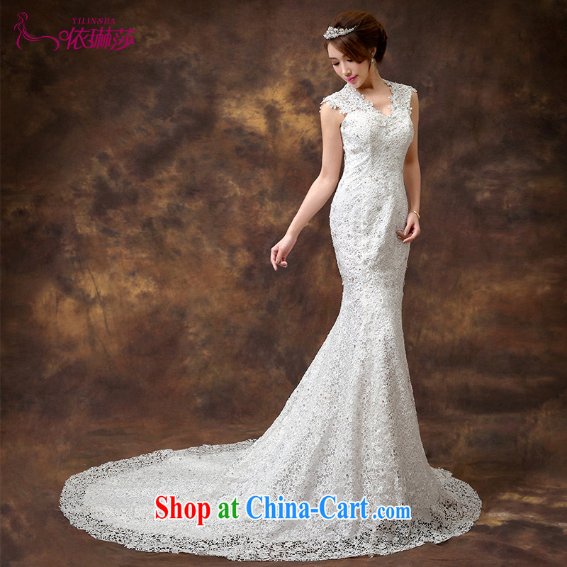 According to Lin 2015 Elizabeth crowsfoot-tail wedding new stylish Korean Beauty lace shoulders crowsfoot strap wedding dresses tailored contact Customer Service