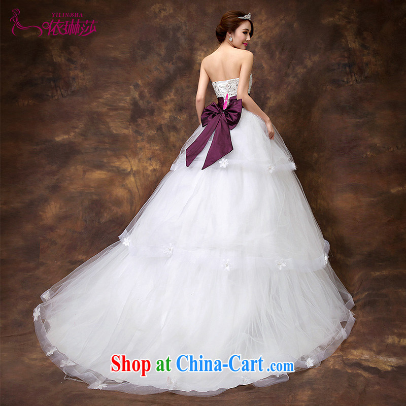 According to Lin 2015 Elizabeth's wedding-tail exclusive fashion Korean version The bowtie bridal small tail wedding dresses nails Pearl tailored contact Customer Service