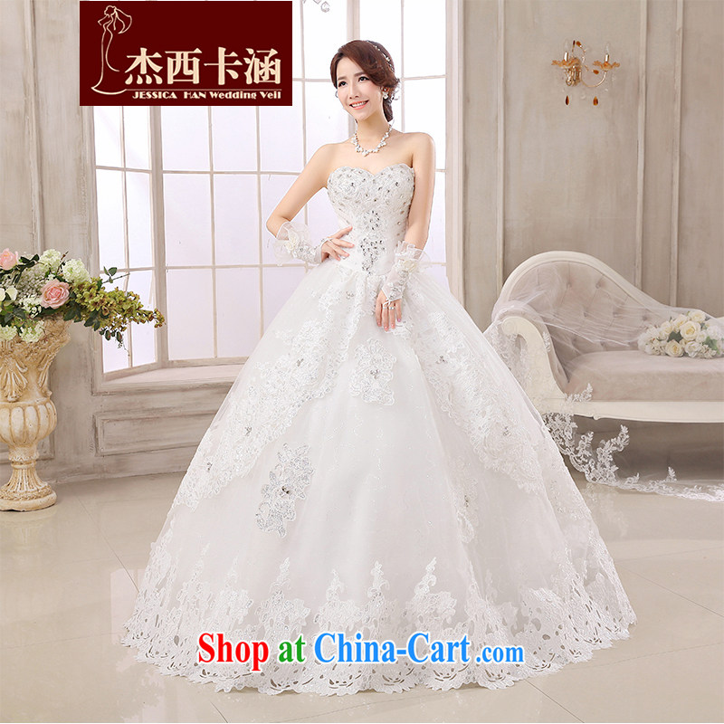 Jessica covered by wedding dresses 2014 new stylish and wiped his chest, winter bridal wedding lace Korean Beauty tie graphics thin diamond white 2151 white XXXL