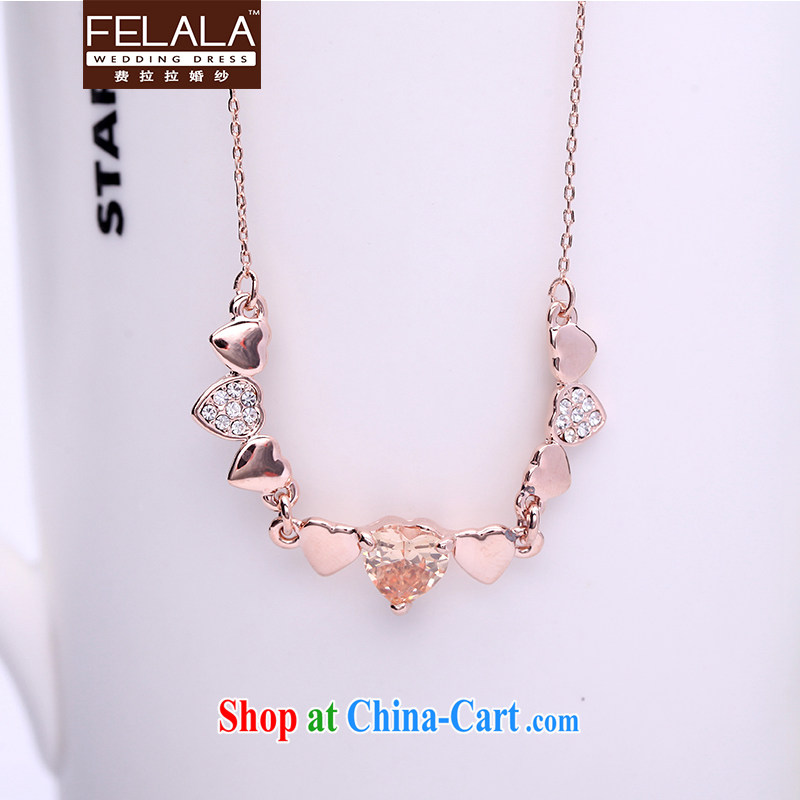 Ferrara Korean-style simple heart-shaped Luxury Water drilling titanium steel rose gold necklace female clavicle link birthday short