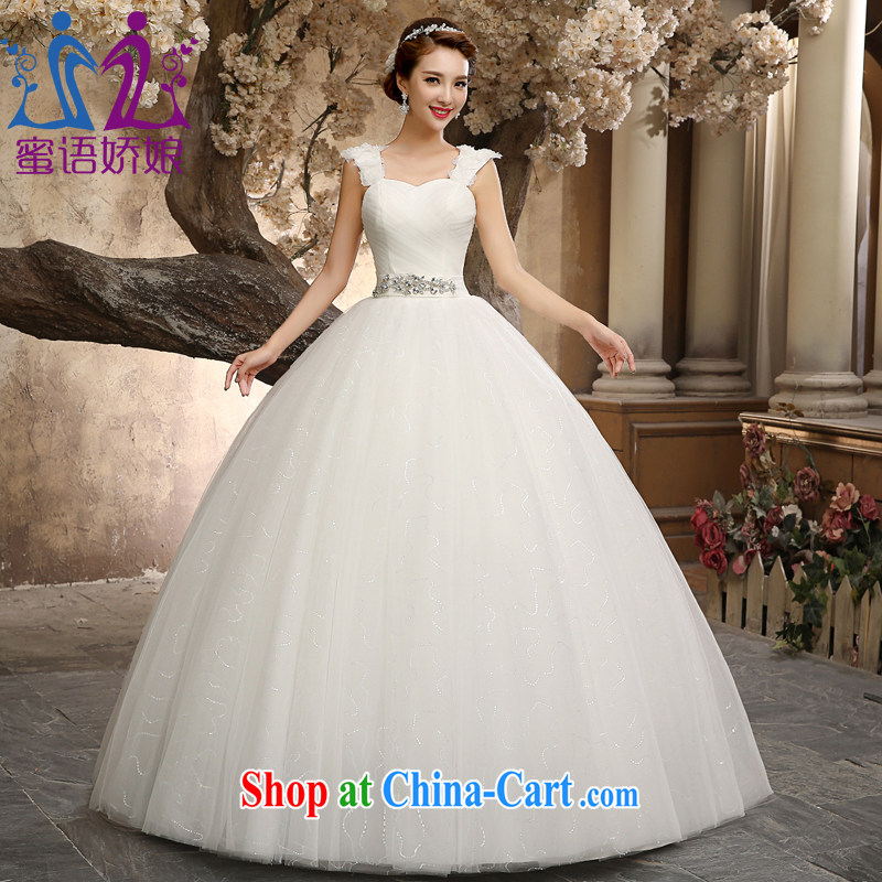 Honey, bride wedding dresses 2015 New Field shoulder collar with large code graphics thin marriages Korean Princess home yarn white XXL