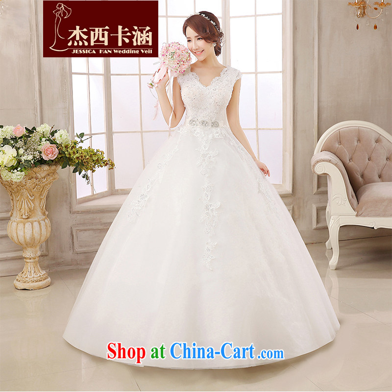 Jessica covered by wedding dresses 2014 New Field shoulders V collar lace-style marriages with skirts tied with cultivating video thin wood drilling 2154 white XXL