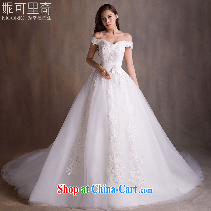wedding dresses new 2015 spring fashion a Field shoulder wedding long-tail wedding bridal wedding dresses wedding wedding, wedding band video thin wedding tail 200 CM advanced customization 15 day shipping