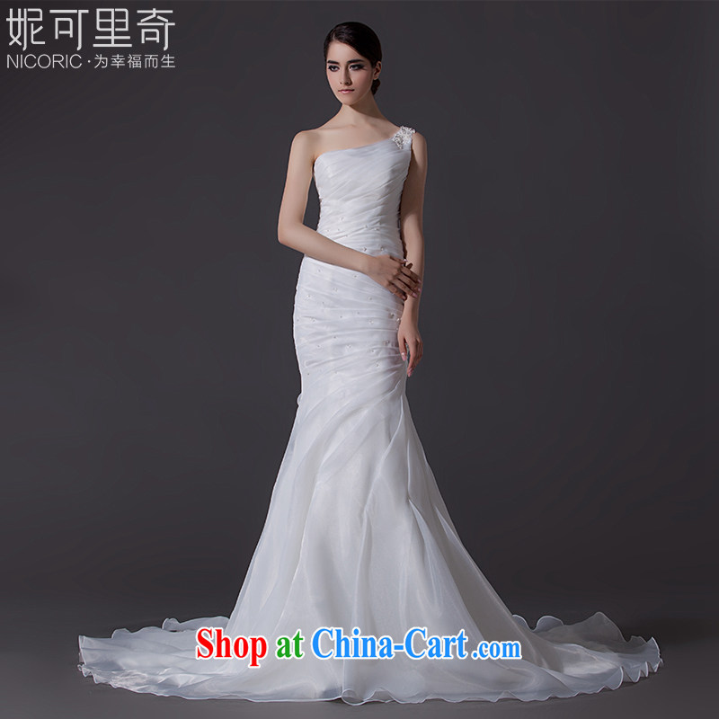 Nicole Richie wedding dresses 2015 new summer single shoulder wedding crowsfoot wedding small tail wedding bridal wedding dresses wedding wedding band video thin large code white Advanced Customization 15 day shipping
