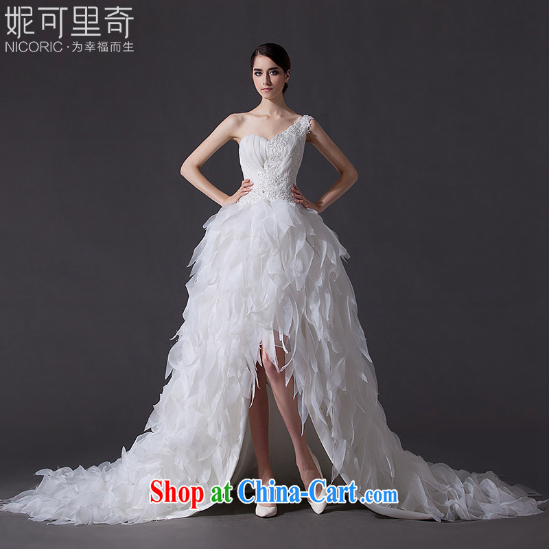 Bridal wedding dresses 2015 summer high quality new single shoulder wedding short before long after their wedding long-tail wedding band wedding, wedding annual concert hosted white Advanced Customization 15 day shipping