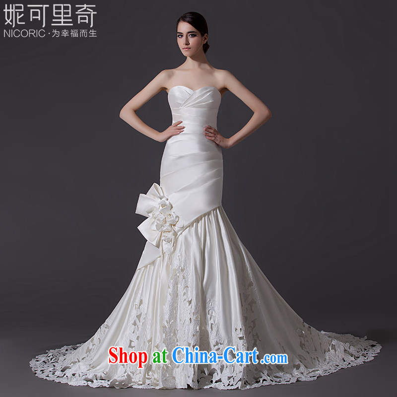 Nicole Richie wedding dresses new 2015 spring fashion wiped chest wedding crowsfoot wedding small tail wedding bridal wedding marriage wedding evening dress annual tail 60 CM Advanced Customization 15 day shipping
