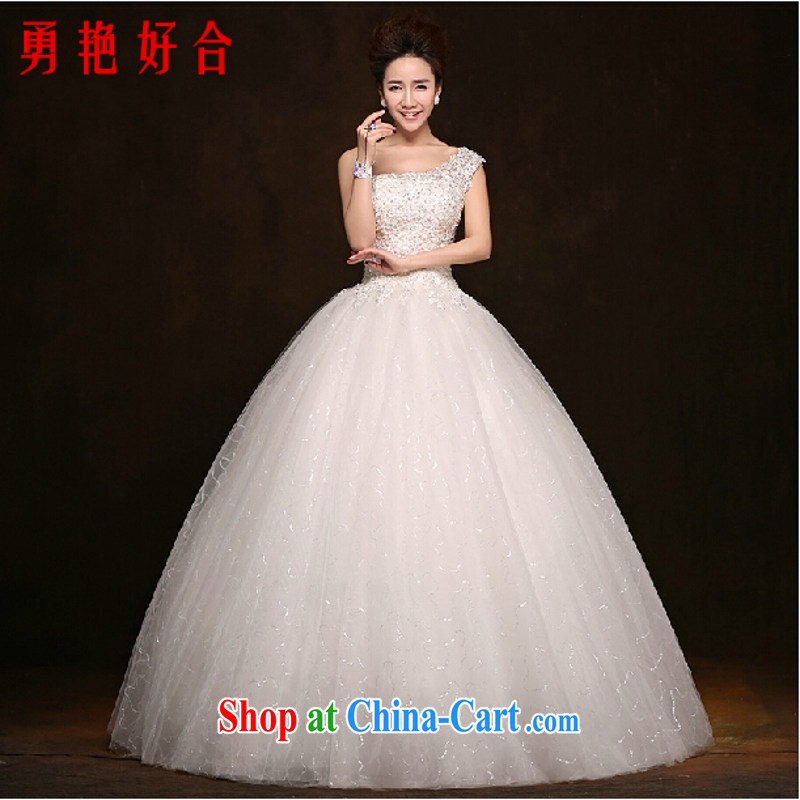 Yong-yan and bridal wedding dresses 2015 new Korean edition the shoulder with graphics thin diamond lace wedding white L