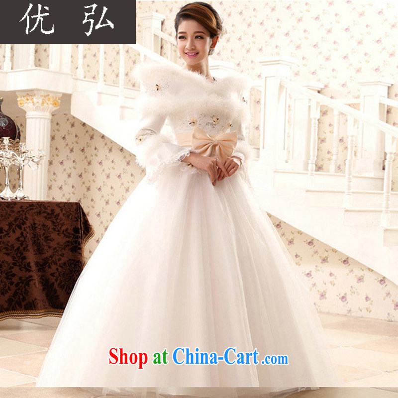 Optimize Hung-winter new long-sleeved warm wedding 20,141 field shoulder high-end marriages wedding white Princess shaggy skirts QH 5501 white XL