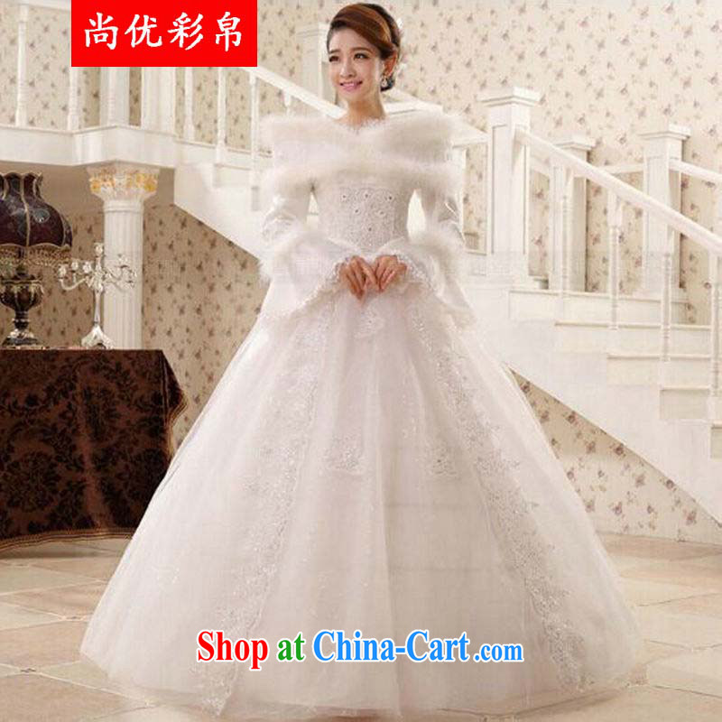 It is also optimized their swords into plowshares winter wedding dresses bride married a Field shoulder strap with shaggy winter dress with long-sleeved qh 1311 white XL