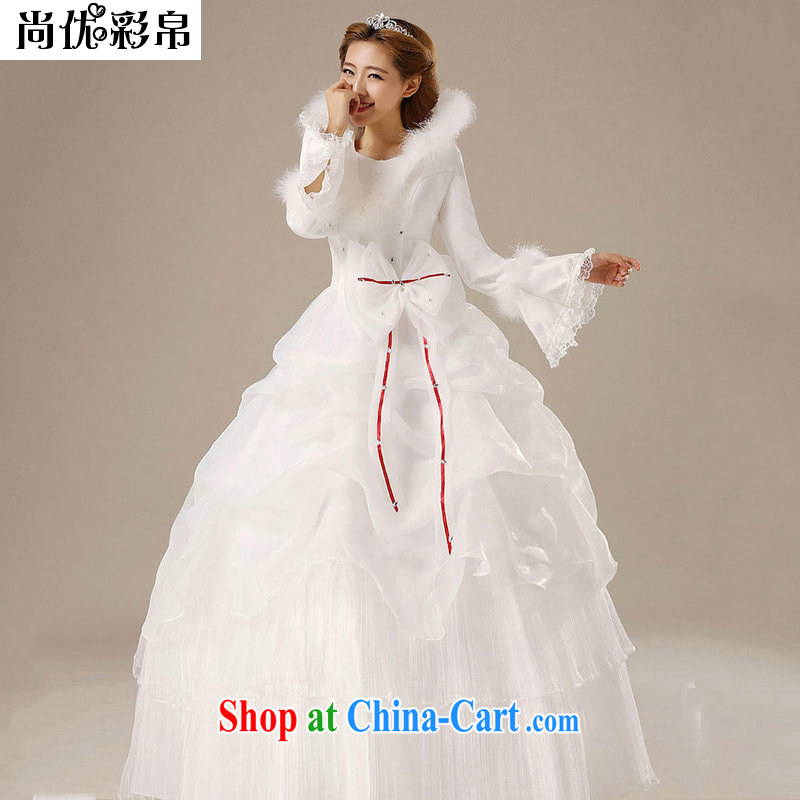 It is also optimized their bridal winter clothes wedding hair collar, collar long-sleeved wedding dresses and cotton thick qh 1312 white XL