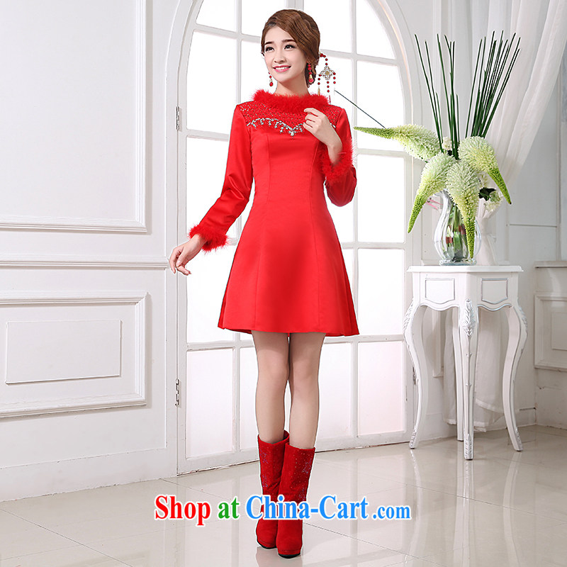 bridal gown long-sleeved dresses fall with new 2014 red toast winter clothing marriage Evening Dress short large code M pieced