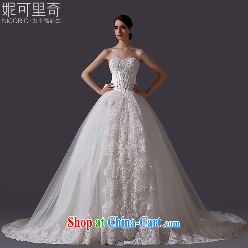 Nicole Richie wedding dresses summer 2015 new stylish erase chest wedding lace wedding long-tail wedding bridal wedding marriage wedding evening dress the uniform tail 100 CM Advanced Customization 15 day shipping