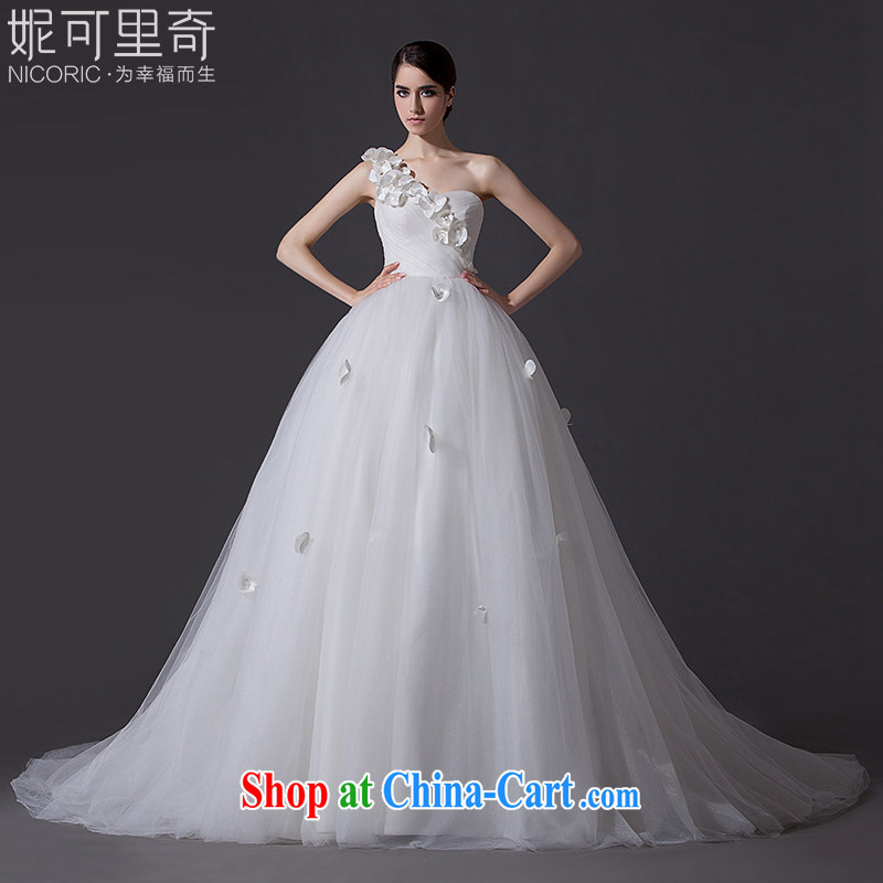 Kidman, summer 2015 new stylish simplicity and elegant single shoulder manually flowers bridal wedding dresses high quality fabric hand sewing tail 200 CM Advanced Customization 15 day shipping