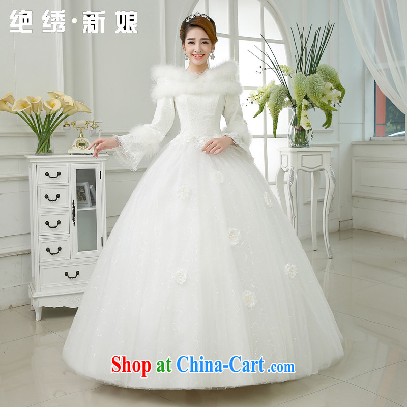 There is embroidery bridal winter clothes 2015 new marriage Korean winter long-sleeved a field base thick winter, cotton wedding white XXXL 2 feet 4 waist Suzhou shipping