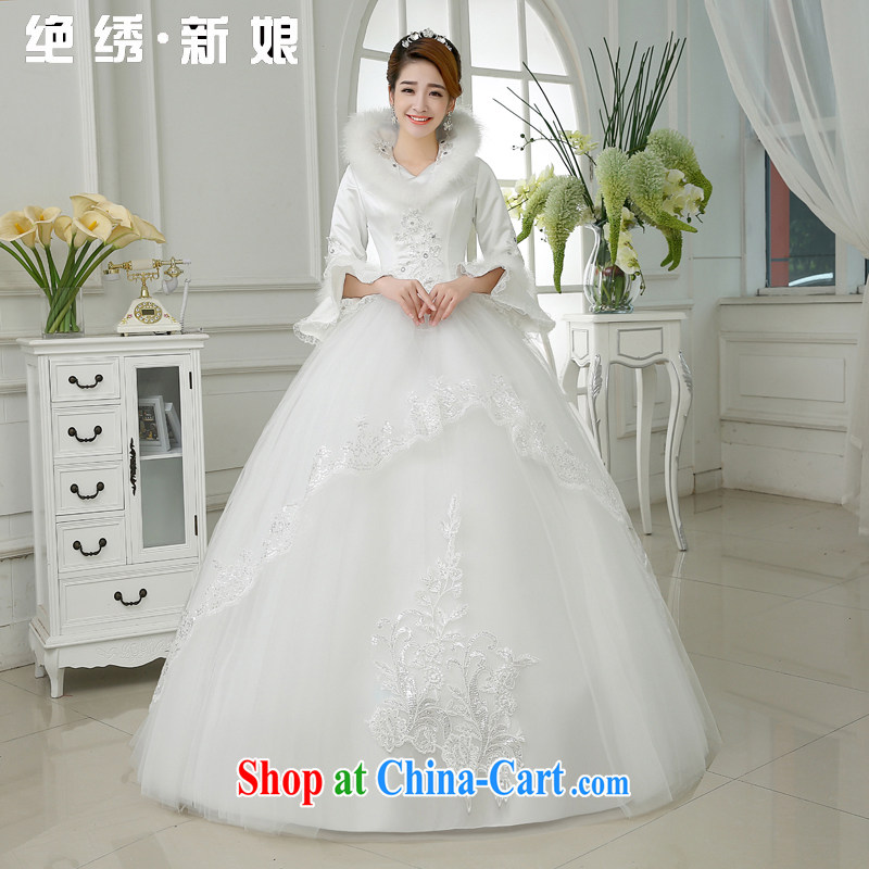 There is embroidery bridal 2015 new thick winter clothes winter marriage long-sleeved lace beauty wedding white XXXL 2 feet 4 waist Suzhou shipping