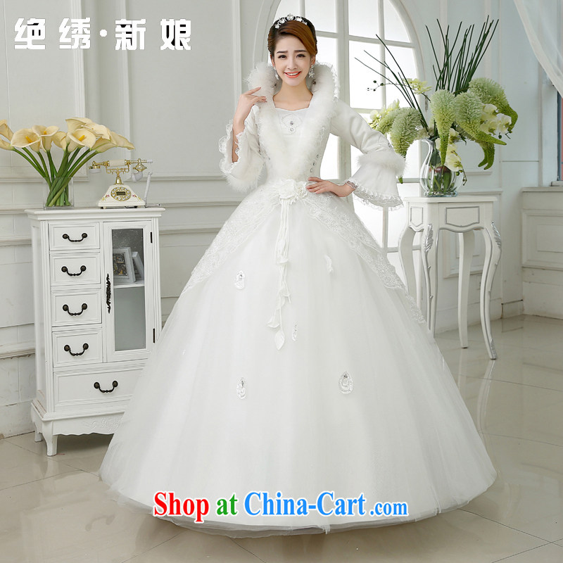 There is a bride's new 2015 Winter Olympics marriage with warm thick, gross for winter clothes long-sleeved wedding white XXXL 2 feet 4 waist Suzhou shipping