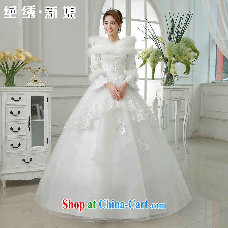 There is embroidery bridal 2015 new thick winter clothes wedding winter wedding long-sleeved lace beauty wedding white XXXL 2 feet 4 waist Suzhou shipping