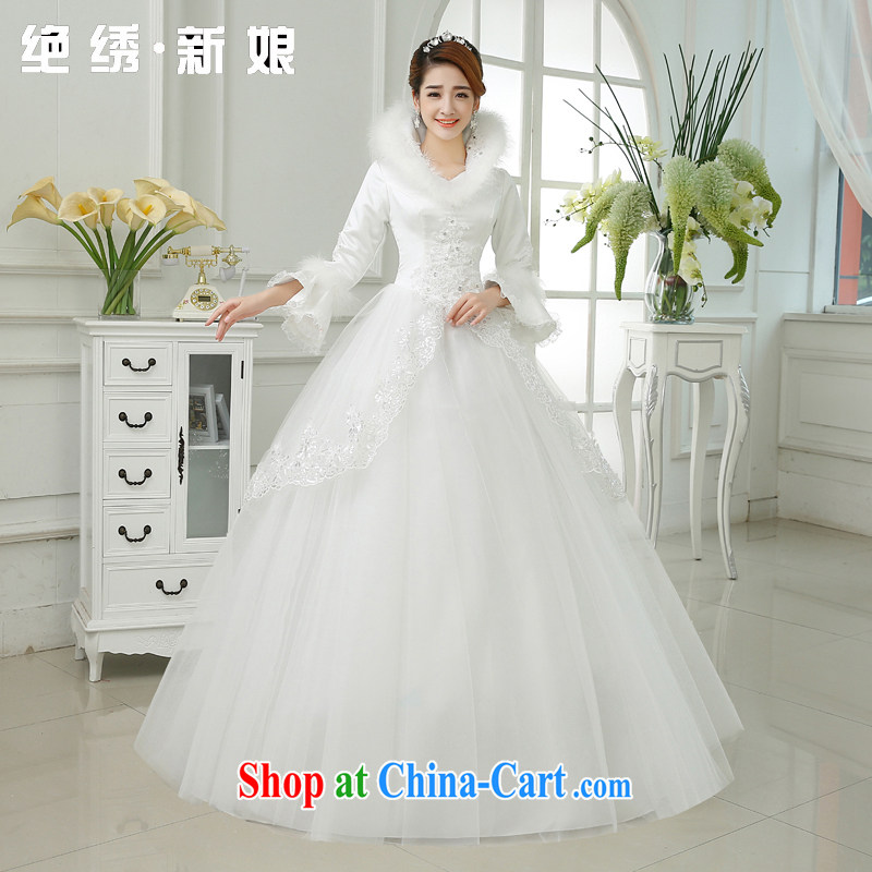 There is embroidery bridal 2015 winter new cotton wedding dresses long sleeved wool collar lace inserts drill winter clothing zipper wedding white XXXL 2 feet 4 waist Suzhou shipping