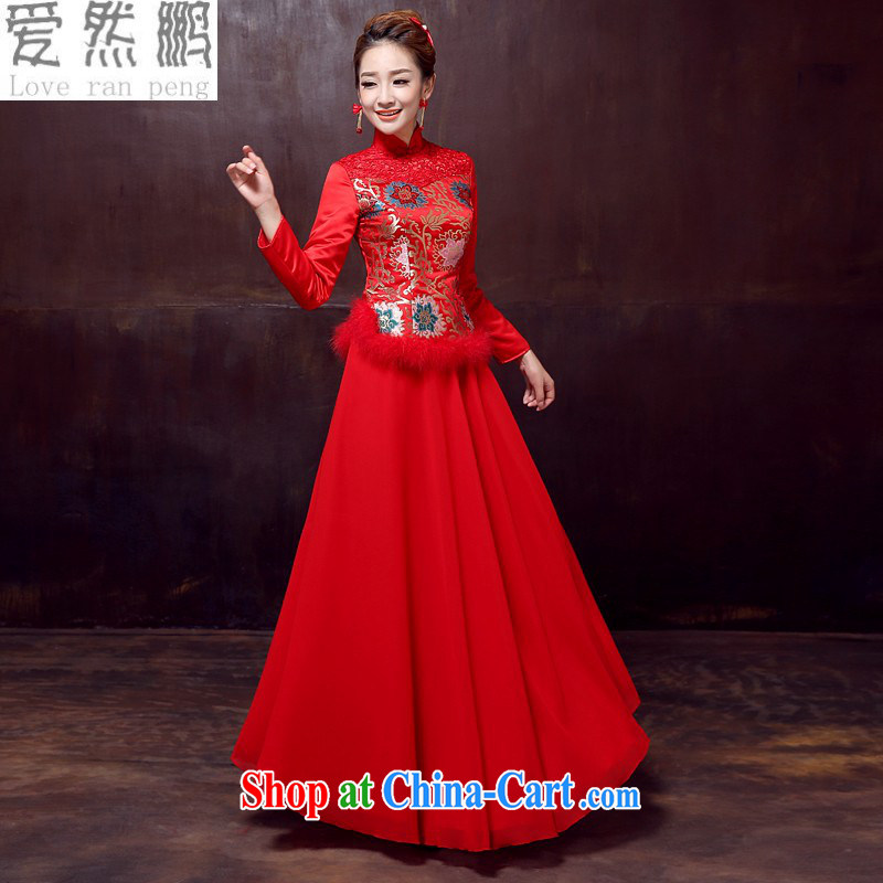 Love so Peng 2014 autumn and winter new long-sleeved dresses skirts long, cultivating marriages toast red winter clothes, cotton robes Customer to size the Do not be returned.