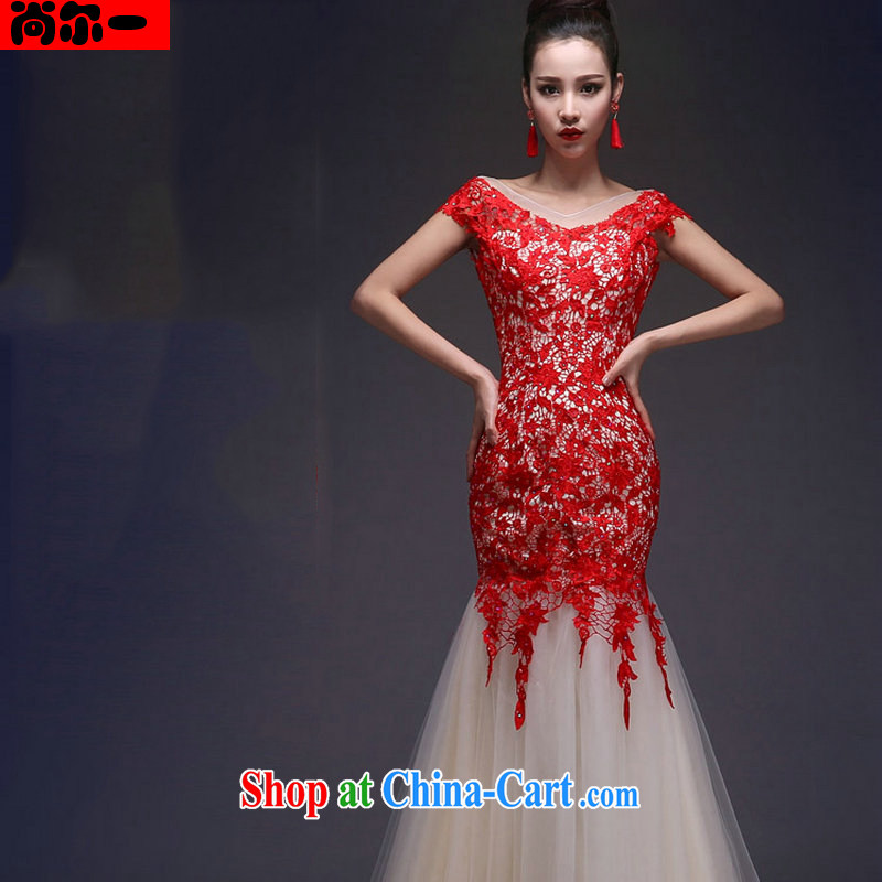 There's a wedding dresses new dual-shoulder crowsfoot beauty lace long strap Evening Dress XS 5269 red XL