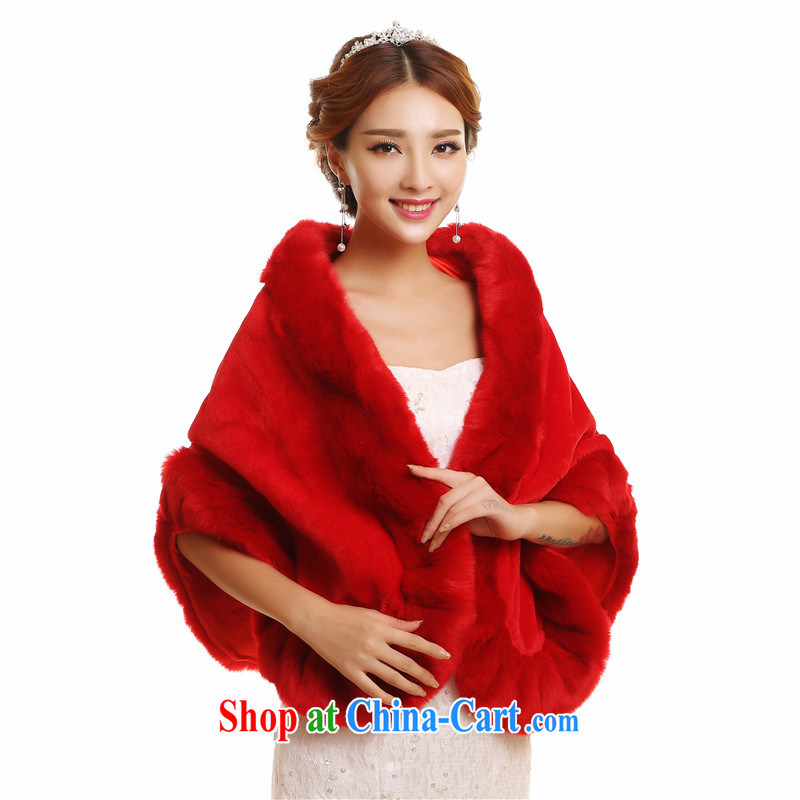 New wedding hair shawl marriage 2014 winter, red-and-white brides and thickened the fox Rabbit fur D. red