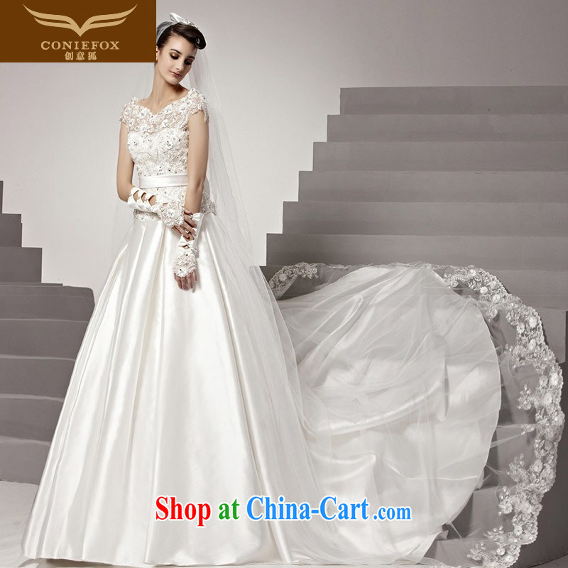 Creative Fox high-end custom wedding dresses 2015 autumn new lace wedding luxury parquet drill video thin-tail wedding charming wedding 90,150 white tailored