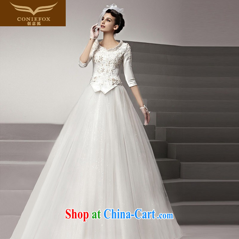 Creative Fox high-end custom wedding dresses royal family and nobles marriage wedding elegance embroidery wedding bridal graphics thin with wedding 90,139 white tailored