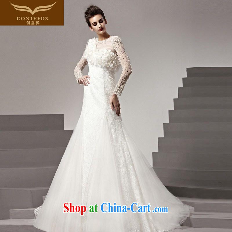 Creative Fox tailored wedding dresses 2015 new white wedding romantic luxury long-sleeved bridal wedding High-tail wedding dresses 90,160 white tailored
